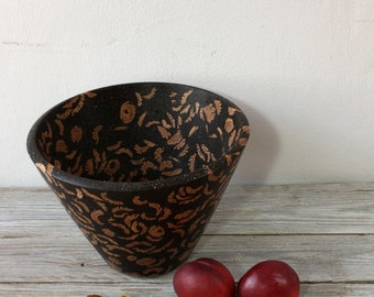 Peach Stones And Recycled Coffee Bowl, Recycled Crafts, Handmade woodturning, Innovative material, Natural art