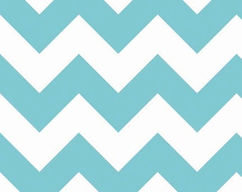 SALE-1 yard of Large Aqua Chevron by Riley Blake