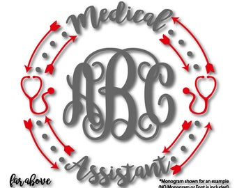 Medical Assistant SVG Stethoscope Monogram Wreath (monogram NOT included) SVG, eps, dxf, png, jpg digital cut file for Silhouette for Cricut