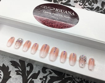 Pink & White Ombre Nails with Swarovski