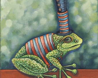"Sir Frances Frogget - an 8x 10"" ART PRINT of a super whimsical and playful green frog with a dapper blue top hat and quirky striped vest"
