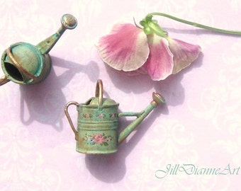 Hand-Painted Shabby Cottage Chic Sprinkling Watering Can  - Antique Pink or Garden Green - Jill Dianne Dollhouse Miniatures