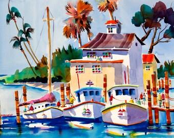 Fishing Boat Print, Fishing Print 5 x 7, 8 x 10, 11 x 14 Negley, Florida Art, Tropical Painting, Beach Print, Boat Painting, Fishing Art