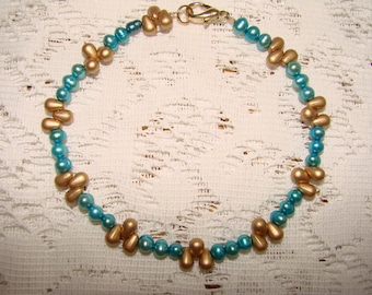 Turquoise Freshwater Pearls And Gold Beaded Ankle Bracelet