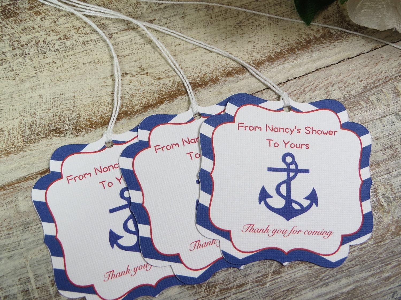 Nautical baby shower favor tags, Nautical bachelorette party favor ...