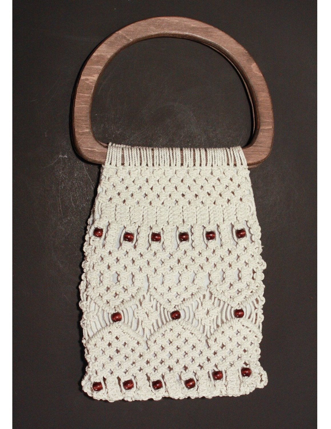 70s Cream Crochet Purse Vintage Handbag Wooden