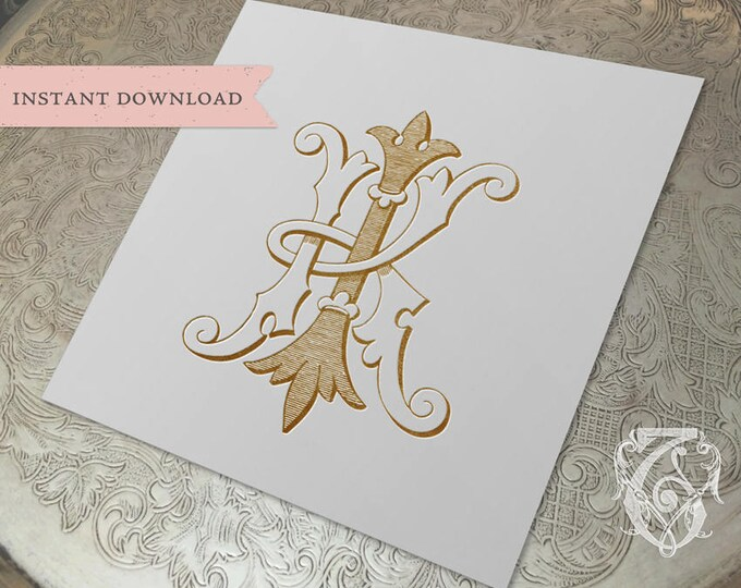 Vintage Wedding Monogram KI IK Digital Download K I