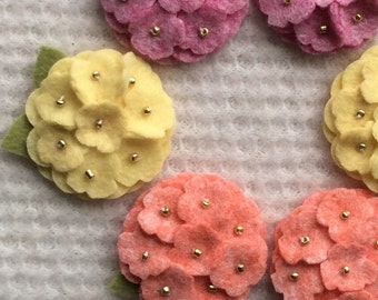 Spring Wool Felt Mini Hydrangeas