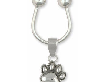 Dog Paw Key Ring Jewelry Sterling Silver Handmade Dog Key Ring PW19-KRE