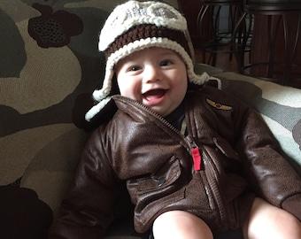 Aviator hat -Baby crochet
