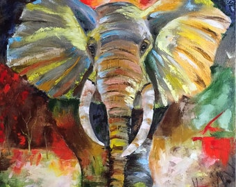 Oil painting On the elephant path
