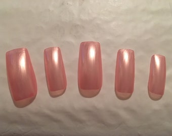 Pale Metallic Pink Nails ~~Choose your SHAPE and LENGTH!!!~~