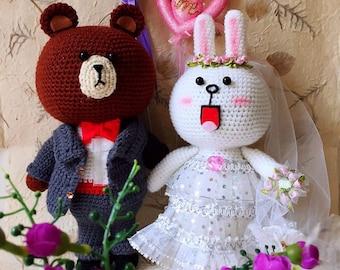 Amigurumi Wedding Dolls ~ Line Brown And Cony