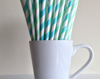 Mint Green and Blue Paper Straws Mint Green and Robins Egg Blue Striped Party Supplies Party Decor Bar Cart Cake Pop Stick Graduation Party