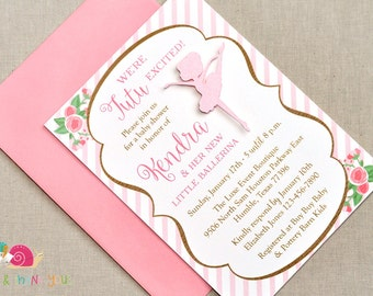 Ballerina Baby Shower Invitations · A6 FLAT · Pink and Gold · Baby Sprinkle | Birth Announcement | Birthday Party | Ballet Party