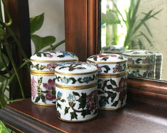 3 Cloisonne Boxes / Mini Stash Boxes / Chinoiserie / Miniature Enamel Containers / Colorful / Vintage Floral Box Lot