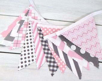 Bunting Banner Garland Baby Girl Nursery Decor Nursery Bunting Fabric Bunting Fabric Banner Baby Shower Pink Gray Chevron
