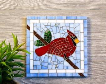 Cardinal Indoor or Outdoor Wall Art in Mosaic Stained Glass Tiles for Your Bird Decor
