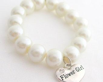 Wedding Flower Girl Bracelet,Wedding Jewelry, Pearl Bracelet, Children's Bracelet, Stretchy, Wedding, Flower Girl Jewelry Free Shipping USA