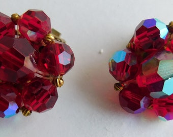 Vintage Estate Red Aurora Borealis Faceted Cluster Beaded Clip On Earrings