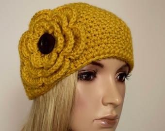 Crochet Flower Headband Head Wrap Ear Warmer Winter Mustard Yellow with Wood Button