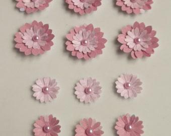 Pack of 12 Paper Flowers, Flower Embellishments, Flower Card Toppers, Craft Flowers, Craft Embellishments, Scrapbook Flowers, Paper Craft