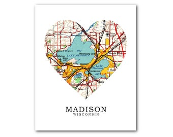 Madison Wisconsin Map Heart Print, Madison Map Art, Madison Map, Heart Map Print, Wisconsin Map, Love Madison, 8 x 10 inches, Unframed