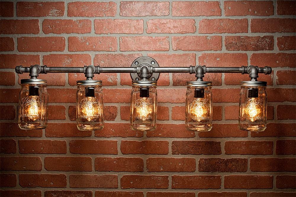 rustic lighting fixtures. Mason Jar Light Fixture - Industrial Rustic Vanity Wall Sconce Steampunk FREE SHIPPING Lighting Fixtures