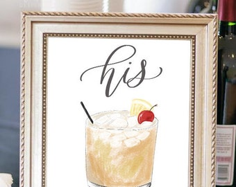 Signature Cocktail Signs, DIGITAL ART, Signature Drink Signs, Bar Menu Signs, Wedding Signs, Custom Calligraphy Sign, Modern Weddings