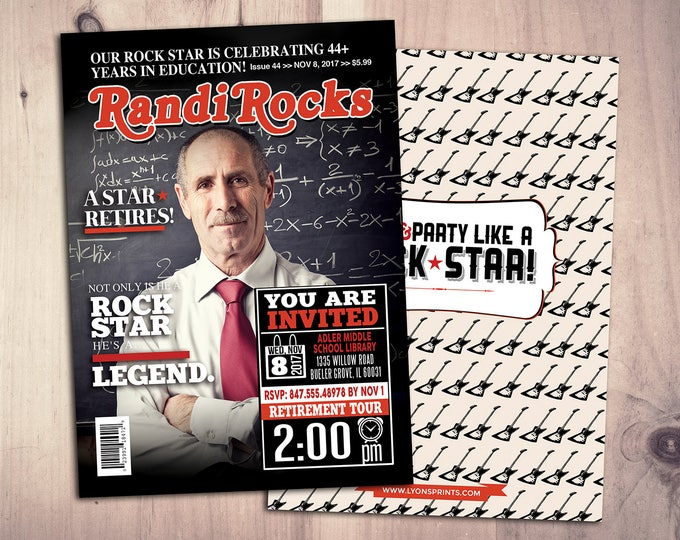Retirement Invitation.Retirement Party Invitation.Retirement Celebration, Cheers, Rockstar, birthday invitation, Rock, magazine cover