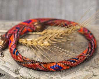 Armenian jewelry Boho rustic ethnic Native necklace orange terracotta necklace Statement chunky choker Bead crochet Gift for girl woman