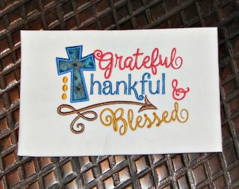 Grateful Thankful Blessed Fall Applique Embroidery Designs