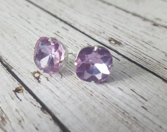 Large Lavender Crystal Stud Earrings, Purchase 3 or more get 10% off