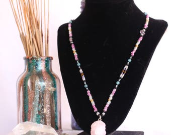 Beaded Necklace || Pretty in Pink with Rose Quartz Pendant