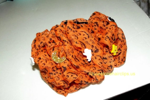 Becky Bows ~OOAK Barrette Hand crafted huge Scarf BIG hair bow Women or Girls giant HALLOWEEN