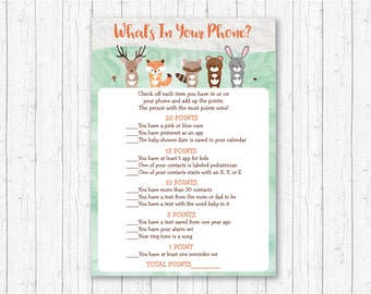 Woodland Animal What's In Your Phone Game / Woodland Baby Shower / Forest Animal / Watercolor / Printable INSTANT DOWNLOAD A156