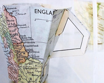 Vintage map greetings card showing the North East coast