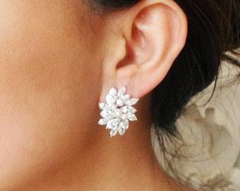Statement Wedding Earrings, Cubic Zirconia Bridal Earrings, Vintage Wedding Jewelry, CZ Flower Studs, Bridal Jewelry, ESTELLE