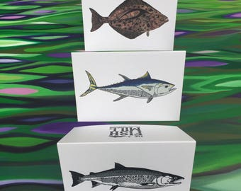 "Greeting Cards - 6 Pack - 2 Coho - 2 Halibut - 2 Bluefin - 4"" X 6"" - Envelopes Included - Letterpress - Strathmore paper - By The Fish Mill"
