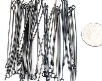 """TierraCast 21 Gauge BLACK Eye Pins 2"""" (50)"""