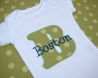 Baby Boy Outfit - Baby Boy Green Polka Dot Bodysuit - Baby Girl Bodysuit - Initial Bodysuit - Birthday Bodysuit