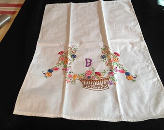 "Vintage tea towel, hand embroidered with ""B"" on it"