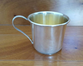 Vintage STERLING SILVER Gold Wash Baby Christening Cup