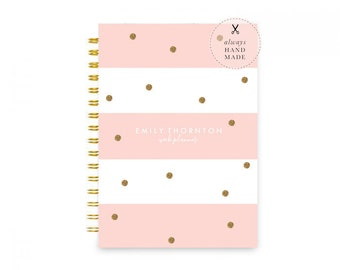 Weekly Planner Personalized – Dateless Planner Spiral Bound Your Choice of 24 Colours, Gold Glitter Polka Dot Planner A5