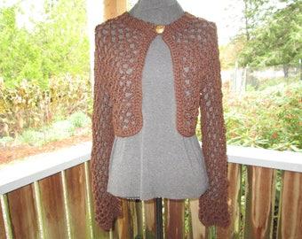 Misses Dark Brown Sweater by SuzannesStitches, Teen Dark Brown Bolero, Girl's Brown Shrug, Women's 16 Sweater, Junior 13/14  Brown Bolero