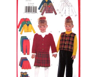 Girls Jacket Vest, Blouse, Pleated Skirt, Pants Pattern Butterick 5777 Trousers Girls Size 2 to 5 or 6 7 8 Sewing Pattern