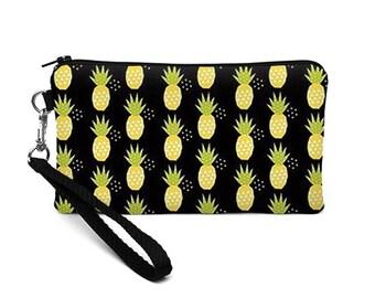 iPhone 8 Plus Clutch, Pineapple Wristlet Wallet, Padded Cell Phone Wristlet, Smartphone Wristlet Purse - yellow pineapples in black