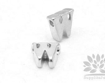"""IP003-MR-W// Matt Original Rhodium Plated Simple Lower Case Initial """"w"""" Pendant, 2 pcs"""