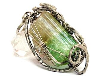 Rough Gemstone Pendant, Raw Green Tourmaline Pendant, Wire Wrapped Pendant, Green Stone Pendant, Raw Crystal Pendant, Tourmaline Necklace