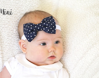 Navy Blue and White Polka Dotted Hair Bow or Bow Tie -Navy Blue Hair Bow - Navy Blue Bow Tie - Nautical Hair Bows - Nautical Bow Ties